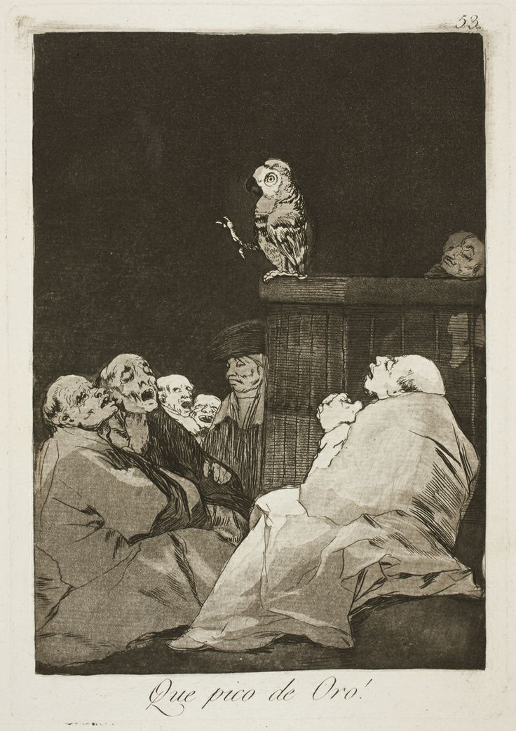 "Francisco de Goya: ""Que pico de Oro!"". Serie ""Los caprichos"" [53]. Etching, aquatint and burin on paper, 215 x 150 mm, 1797-99. Museo Nacional del Prado, Madrid, Spain"