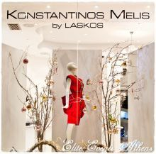 Following the IDIOSYNCRASY concept of Konstantinos Melis & Yiannis Laskos fashion show 2012, Elite Events Athens team decorated the window display of their marvelous atelier in Athens for Christmas of 2012. haute couture, paris, milan, italy, france, athens, greece, fashion, show, wedding, gown, cocktail, dress, melis, by, laskos, designer, elegant, chic