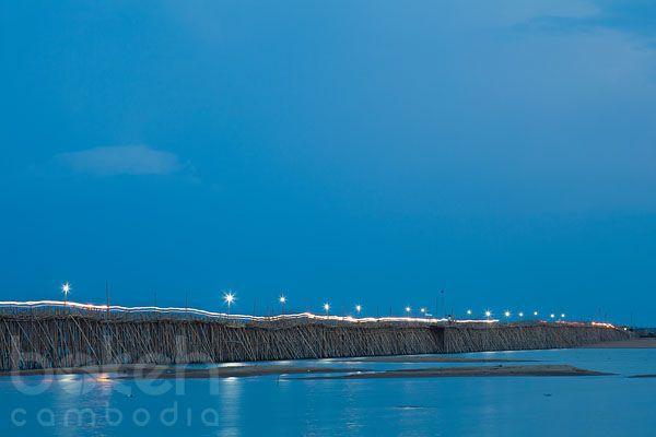 Bamboo bridge to Koh Paen at night   Kampong Cham Province, Cambodia