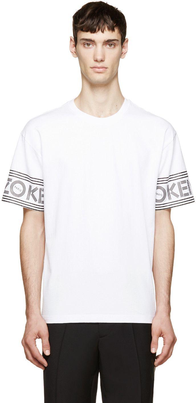 Kenzo White Logo Sleeve T-Shirt