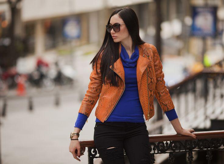 Orange python jacket by ADAMOFUR #leatherjacket #spring #orange #style #streetstyle #fashion #ootd #look