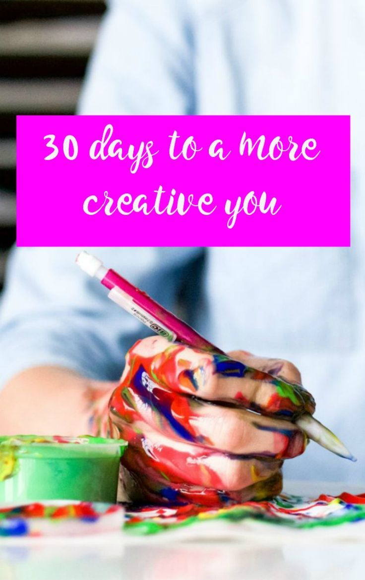 30 days to a more creative you. Would you like to be more creative? Here is a monthly plan to help you become more creative in just 10-20 minutes a day with various fun and inspiring activities to awaken your creativity. This list will propel you towards more creative self expression and release the artist within you through, music, mindfulness, art, writing and more. Let's get your creative on!