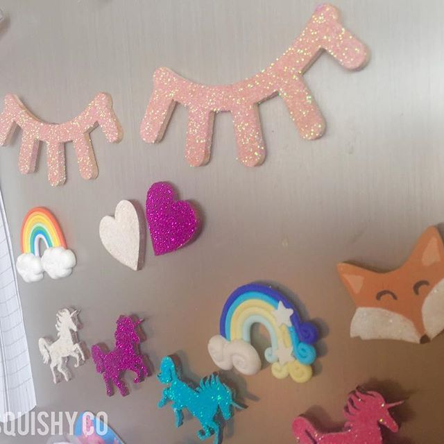 Morning 💤😴. . . #Mpsandtsc #uniquepartygifts #smallbusiness #supportsmall #instagirls #instaboy #instakids #instamums #fridgemagnets #magnets #sleepylashes #unicorns #glitter #mrfox #rainbow #hearts