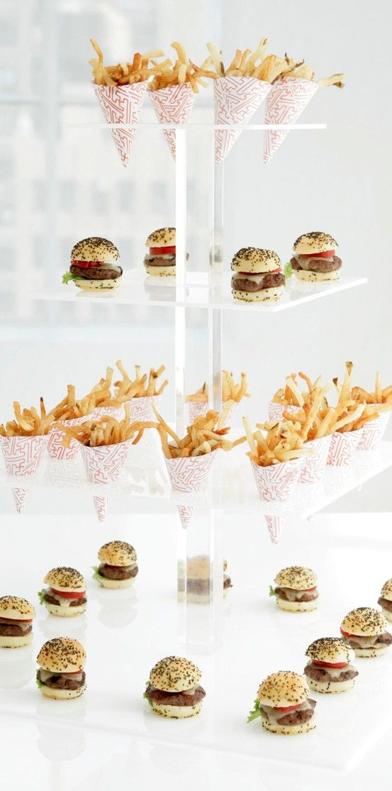 mini burgers and fries on a cool display