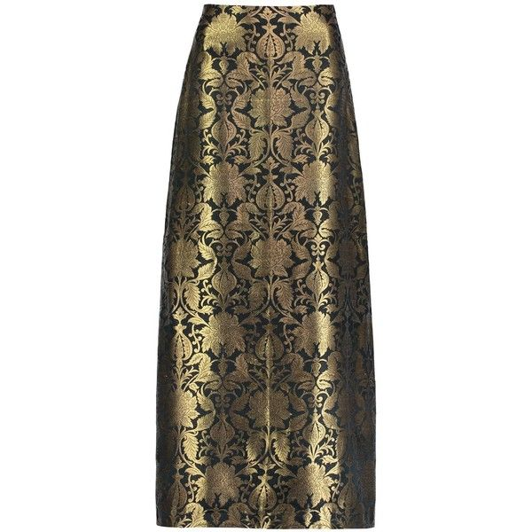 Sania Studio - Gold Brocade Long Skirt ($355) ❤ liked on Polyvore featuring skirts, a line maxi skirt, brown skirt, floor length skirts, gold maxi skirt and zipper skirt