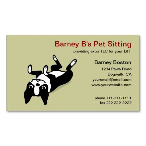The 257 best pet care business cards images on pinterest business cute boston terrier pet care business card reheart Images