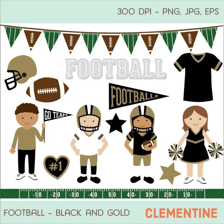 New to ClementineDigitals on Etsy: Black and gold football clip art images sports clipart football vector royalty free clip art- Instant Download (5.00 USD)
