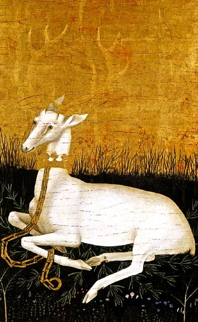 The White Hart. The Wilton Diptych in the National Gallery takes its name from Wilton House, near Salisbury, Wiltshire, where it was housed between 1705 and 1929.  On one of the exterior panels is a white hart, Richard II's badge.  The antlers stand out from the gold ground through the effect of light and shadow created in pointillé. The hart lies in a grassy meadow strewn with flowers and mingled with rosemary thought to be in remembrance of Richard's first wife, Anne of Bohemia. Artist…