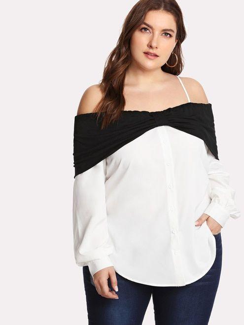 ce59dbb7ee566 Cold Shoulder Foldover Curved Dip Hem Shirt