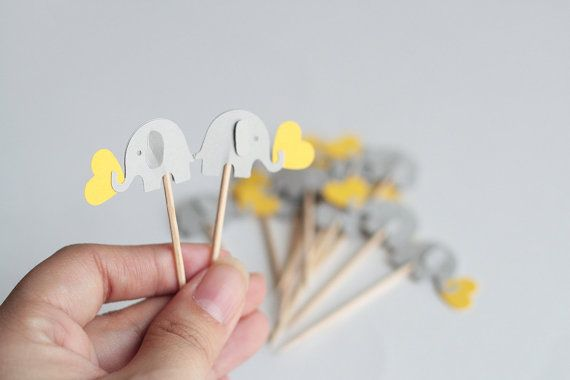 24 elephant cupcake toppers Yellow and gray Party by takiecrafts