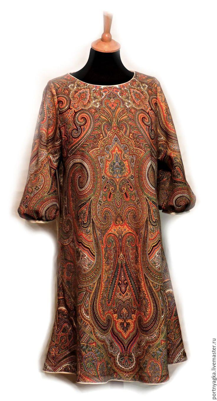 Купить Платье Драгоценная Рыжая(из ППП) - рыжий, орнамент, павловопосадский платок, платье из платков