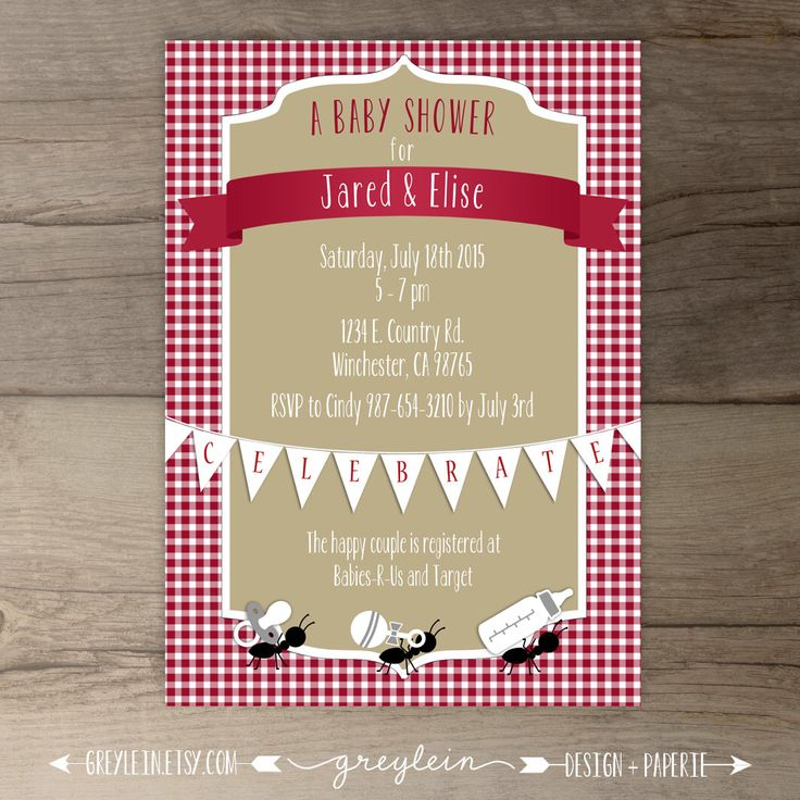 Picnic Baby Shower Invitation • Red white khaki gingham ants • co-ed BBQ baby shower • DIY Printable Invitation by greylein on Etsy https://www.etsy.com/listing/222267158/picnic-baby-shower-invitation-red-white