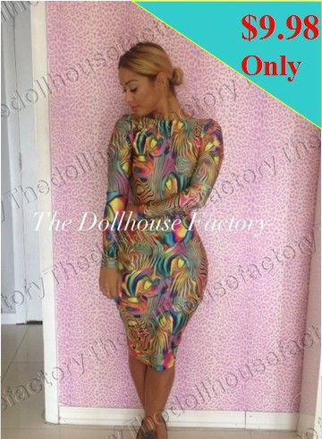 New style 2014 sexy bandage dress bodycon empire waist print club dress long-sleeve women evening party dresses LQ9188 US $9.98