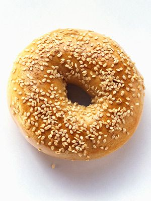 My downfall: Large Bagel 320 calories -  The calories burned jogging for 45 minutes at a good pace will counteract those in one large bagel.