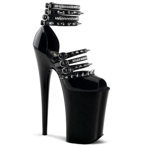 Pleaser Women's Infinity 935 M. Multi ankle strap close back sandal  featuring pyramid studs and spikes on upper.