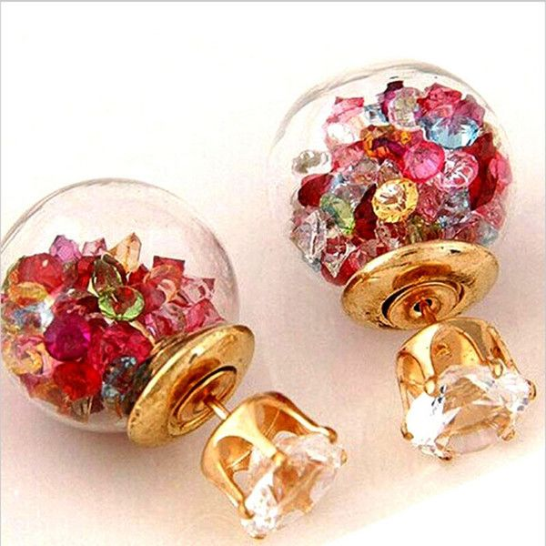 Doubled Sided Crystal Stud Earrings  only £1.99 free delivery