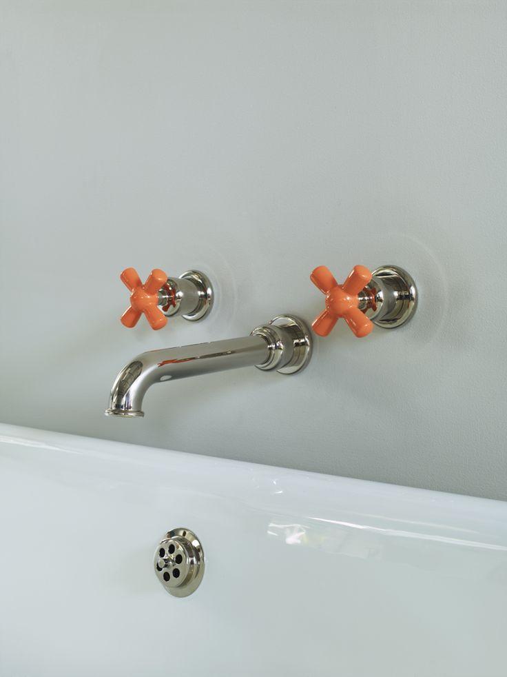 Rockwell wall mounted bath taps with orange crossheads #watermonopoly #orange #basin #taps
