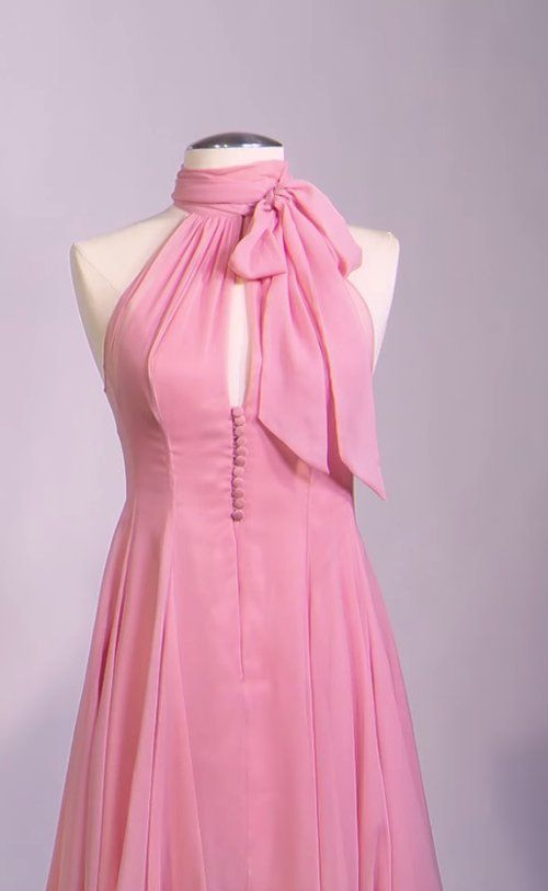 Mark Bridges (Costume Designer) Custom Made Pink Chiffon Halter Dress as seen on Anastasia Steele in Fifty Shades of Grey | TheTake