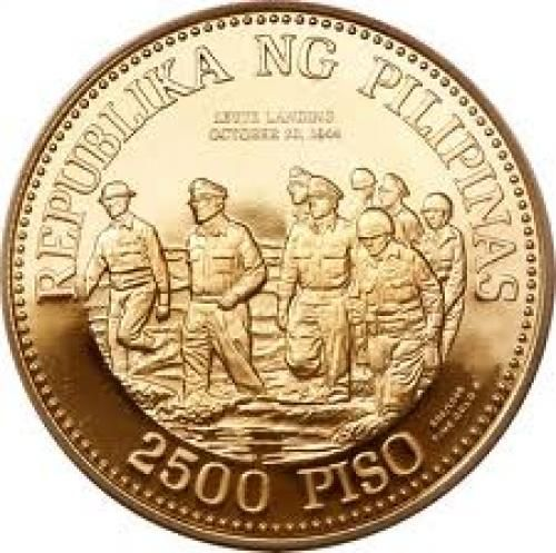 2500 Philippine peso gold coin; Gen. Mac Arthur (back ...