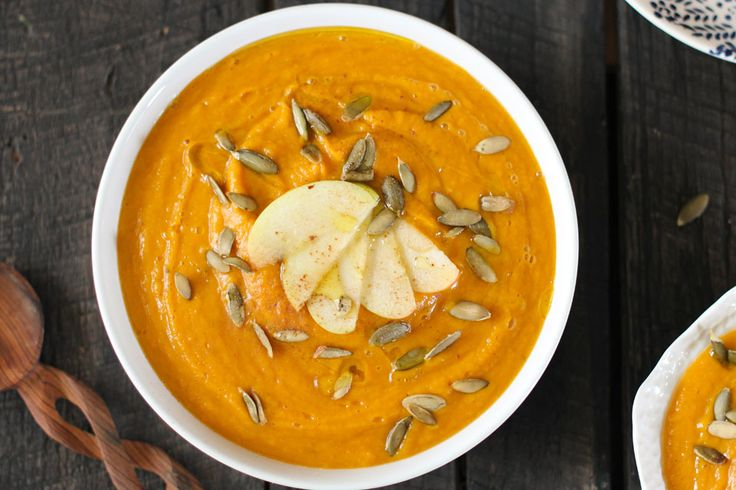 Creamy butternut squash and apple soup is full onflavor and nutrients. Courtesy ofNutrition Stripped, each cup serving of soup is loaded with fiber plus important vitamins A and C. Garnish with a...