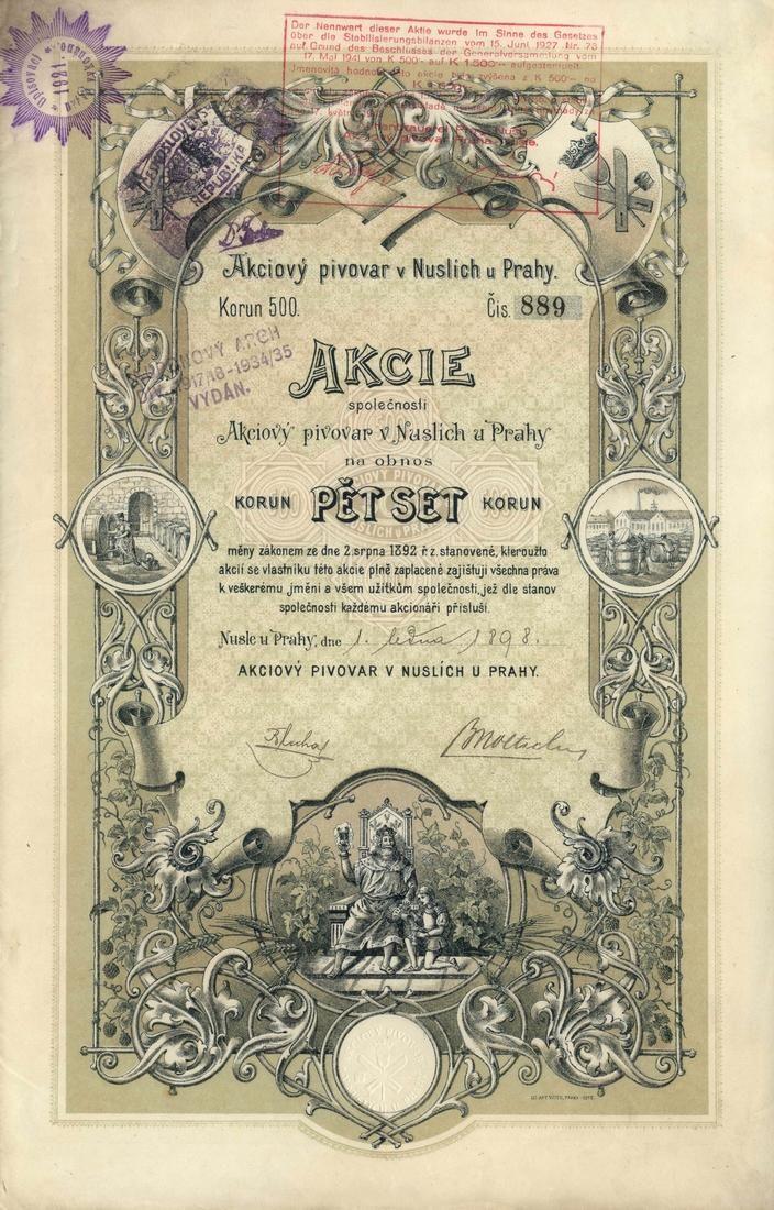 Akciový pivovar v Nuslích u Prahy (Aktienbrauerei Nusle bei Prag, Aktienbrauerei Prag-Nusl). Akcie na 500 Korun. Nusle u Prahy (Praha), 1898.