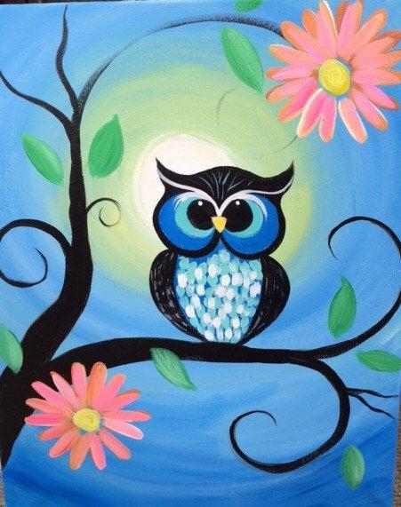 Whimsical Owl Painting by eracindym on Etsy https://www.etsy.com/listing/234500795/whimsical-owl-painting