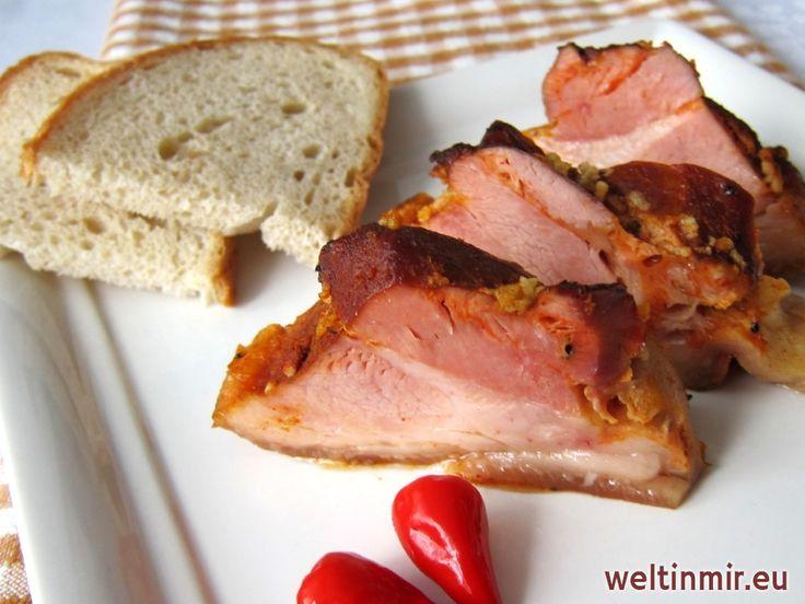 Gebackene, geräucherte Schweinshaxe, Rezept