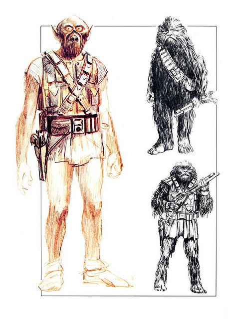 Preliminary sketches, Chewbacca, by Ralph McQuarrie