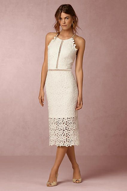 Anthropologie Tulip Wedding Guest Dress - Complete with sheer cutouts at the waist and a meandering hemline, this slim lace dress competes with the beauty of a landscape abloom.
