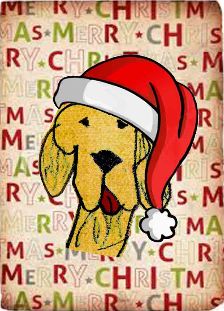 Kids Art Design -Christmas dog sends holiday greetings. Based on a drawing by a seven year old.