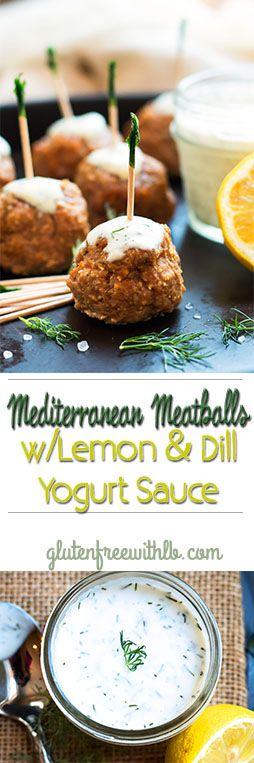 A gluten free dinner recipe for Mediterranean Turkey Meatballs with a Lemon, Dill & Feta Yogurt Sauce