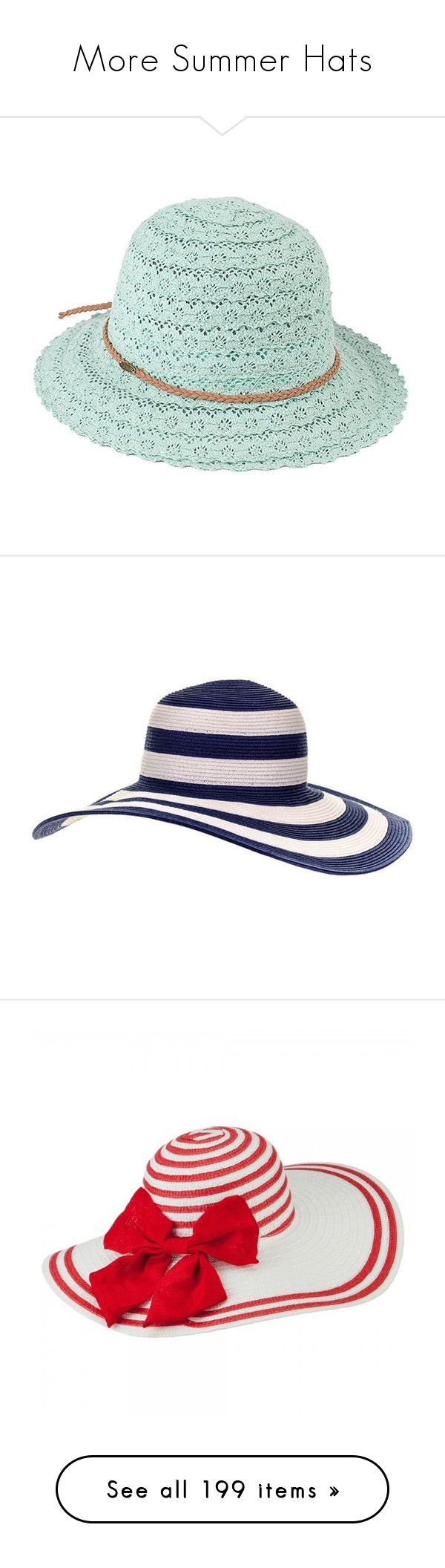 """More Summer Hats"" by judymjohnson ❤ liked on Polyvore featuring accessories, hats, nautical hat, brim sun hat, wide brim hat, stripe hat, travel hat, straw hats, white hat and red hat"