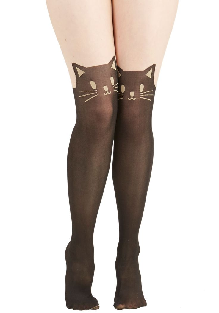 Wherefore Art Thou, Ro-meow? Tights. Whenever you wish to add an extra dash of sassiness to your day, look for these quirky cat tights. #black #modcloth