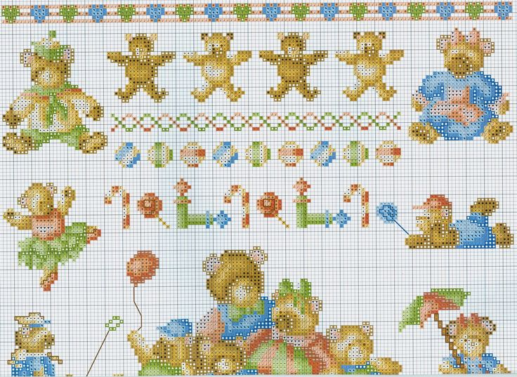 Cute teddies (part 1) free cross stitch pattern from www.coatscraft.pl