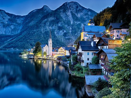 Dusk, Hallstatt, Austria photo via destiny