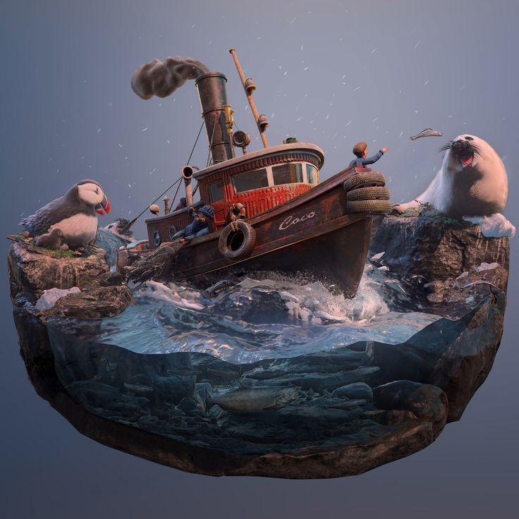 Fishing Trip, Joel Zakrisson on ArtStation at https://www.artstation.com/artwork/A6oae