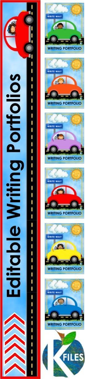 Use this resource to help showcase your student's writing throughout the year. Great for grades kindergarten first, second, third, fourth, fifth and sixth! Includes a Writing Portfolio binder cover, spine label, Table of Contents and monthly dividers. Great for assessment and Open House as well as parent teacher conferences. TheKausFiles.blogspot.com