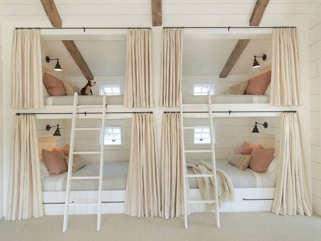 Bunk bed ideas. Curtains for privacy. Would be awesome in a cabin.