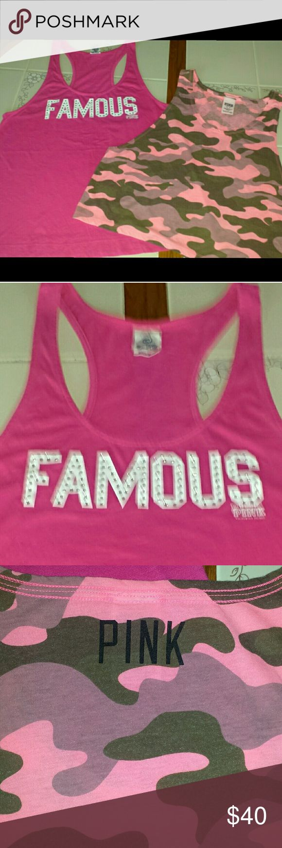 VS PINK TANK TOPS VS PINK Razor Back Bling Tank  VS PINK Cropped Camo Tank  Both in great condition  TV Higher PINK Tops Tank Tops