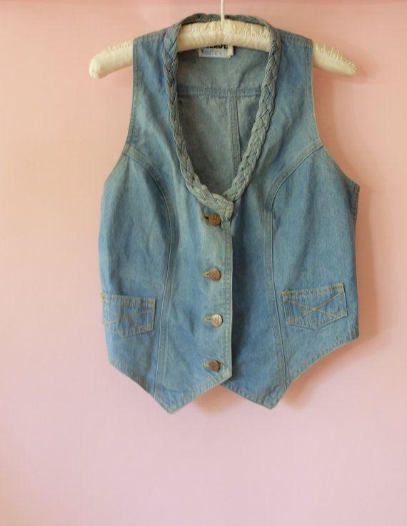 1970er Jahre Damen Vintage Ernte Jeansweste von FoxxLuxCollection