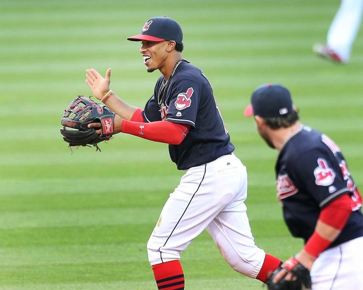 Cleveland Indians Francisco Lindor heads back to the dugout with Jason Kipnis after the 2nd inning at Progressive Field on May 6, 2016. Indians won 7-1 (Chuck Crow/The Plain Dealer)