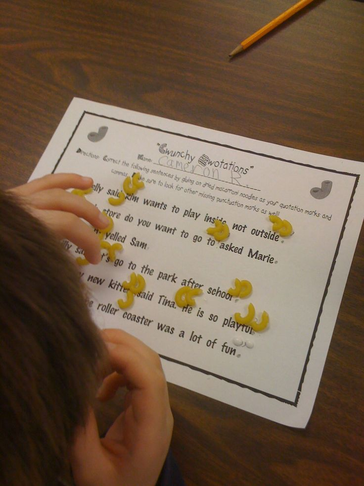 Idea for teaching where to put quotation marks -- pretty genius and hands-on!
