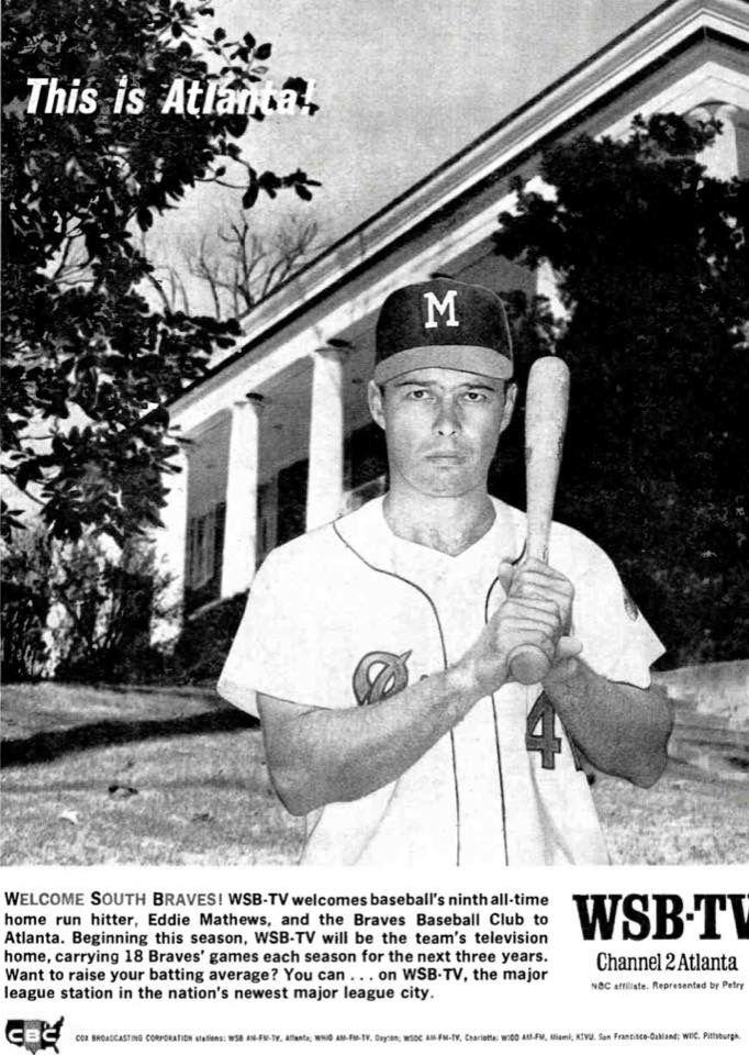 1965 Advert For Atlanta Braves Radio Coverage With Images Braves Atlanta Braves Braves Baseball