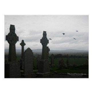 Keltische Kruisen, Rots van Cashel, Ierland Print