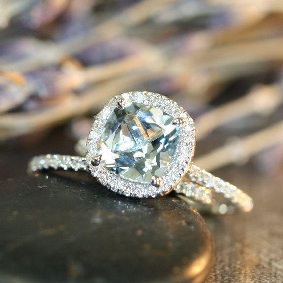 Aquamarine Wedding Ring Set in 14k White Gold Halo by LaMoreDesign