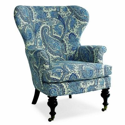 Amazing Mary Blue U0026 White Paisley Wing Chair