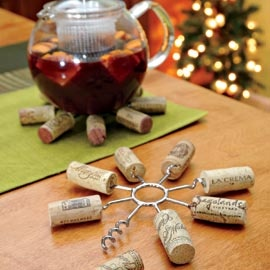 wine cork trivet...reuse corks to turn it into a practical trivet!  good gift for a wine drinker.