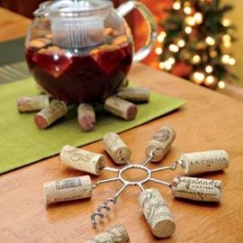 wine cork trivet...reuse corks to turn it into a practical trivet!  good gift for a wine drinker.