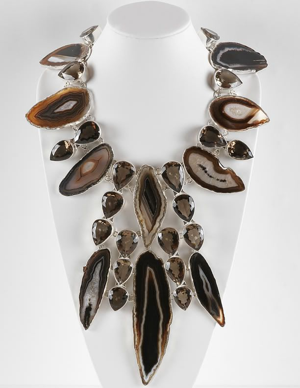 Necklace   Charles Albert.  Sterling silver, smokey agate.  http://www.charlesalbertlookbook.com/necklaces.html