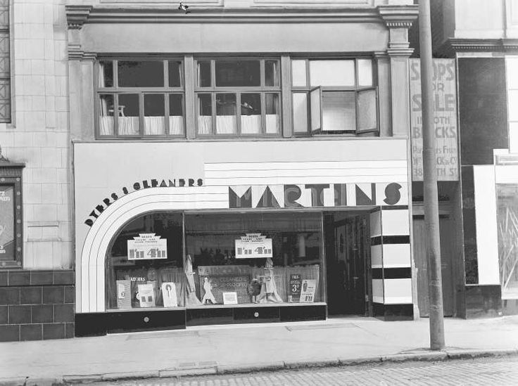 """Shop frontage in Sauchiehall Street. The old Transport Museum's 1930's street had a shop called """"Mademoiselle"""" based on this shop."""